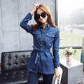 2017 Spring Fashion British Style Retro Women Trench Long Sleeve Blue Denim Ladies Office Slim Trench Coat Outerwear Plus Size