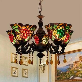 오우 티파니 스테인드 글라스 거실 식당 침실 바 클럽 포도 5 머리 교수형 크리스탈 램프