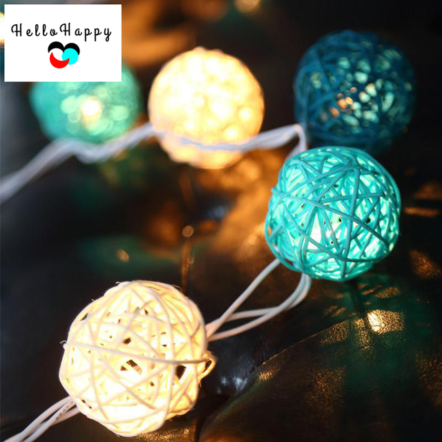 battery plug in fairy light 20 ball led string light patio chain night garland christmas light