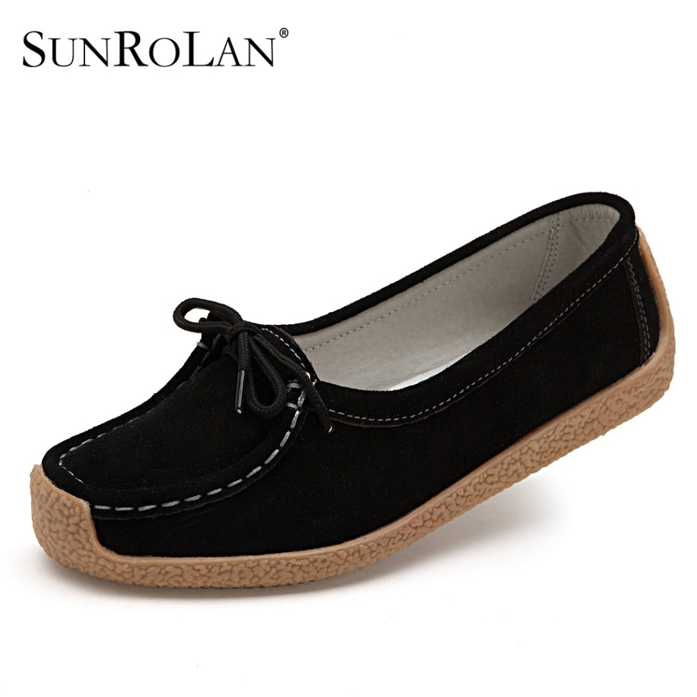 SUNROLAN 2017 Spring Women Flats Shoes Woman Lace upCow Suede Loafers Black Ladies Driving Moccasins Comfort