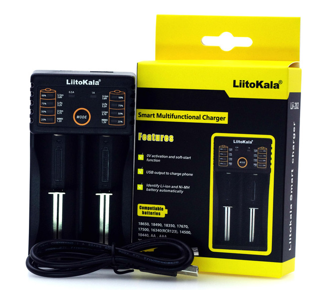 Liitokala Lii-100 Lii-202 Lii-402 Lii-PD4 LCD 3,7 V AA/AAA 18650, 18350, 26650, 20700, 18350 NiMH de litio e-cigarrillo cargador de batería