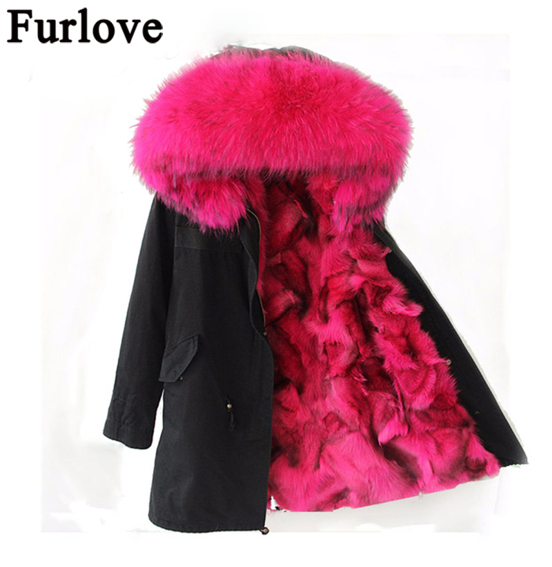 Furlove Pink Fox fur Parka,long style fashion winter fox jacket for lady outwear,mulitcolor army green women parka