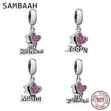 Sambaah 925 Sterling Silver Dangle I Love my Husband Jesus Music Boyfriend Charm Beads fit Pandora Valentines Day DIY Bracelet