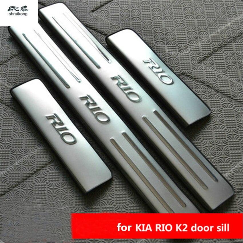 Pour 2010 2011 2012 2013 2014 KIA RIO 3 berline hayon en acier inoxydable plaque de seuil de porte 4 pièces/ensemble accessoires de voiture