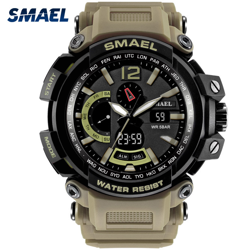 SMAEL Sports Watches Men Outdoor Big Dial Military Watch S Shock 50M Waterproof Digital Quartz Wristwatches Relogio Masculino pedometer heart rate monitor calories counter led digital sports watch fitness for men women outdoor military wristwatches