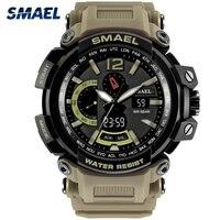 SMAEL Sports Watches Men Outdoor Big Dial Military Watch S Shock 50M Waterproof Digital Quartz Wristwatches
