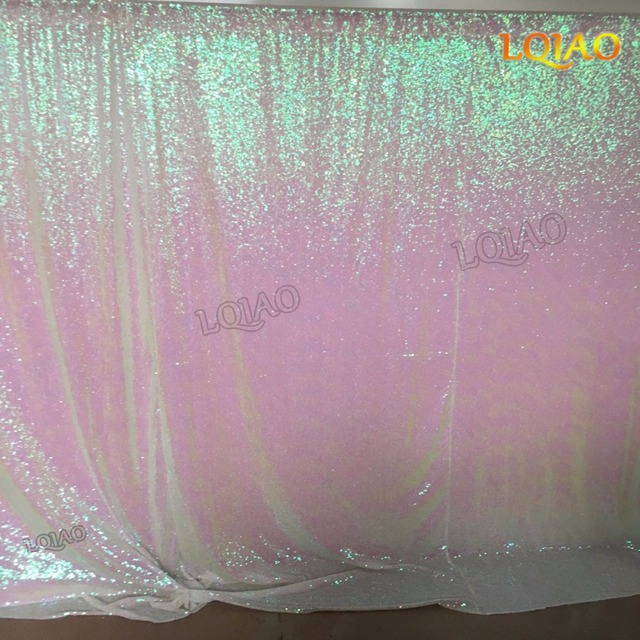 Sparkly Sequin Backdrop Iridescent 20x10ft Changed White Shimmer Fabric Photography Curtain Decoration