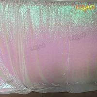 Sparkly Sequin Backdrop Iridescent 20x10ft Changed White Shimmer Sequin Fabric Photography Backdrop Curtain Decoration