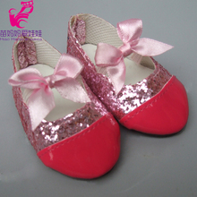 Doll Shoes Fits for 18 Inch 45CM American Girl Patent Leather With Bow Madame Alexander