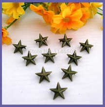 Wholesale 200pcs 15mm Bronze Star Metal Studs, Rivet and Spike, decorative Stud for clothing Punk Leather Clothes Decorative
