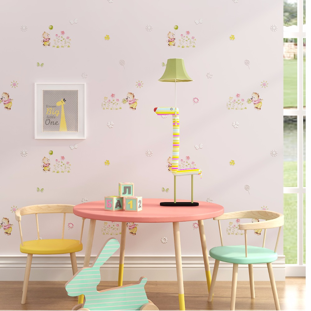 New Children's room wallpaper boy girl bedroom cute cartoon bear small flower butterfly balloon environmental non-woven warm beibehang environmental non woven boy girl warm cartoon children s room blue sky clouds balloon wallpaper