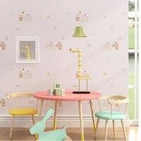 Novo quarto das Crianças quarto papel de parede da menina do menino bonito dos desenhos animados urso pequena flor borboleta ambiental não-tecido de balão quente