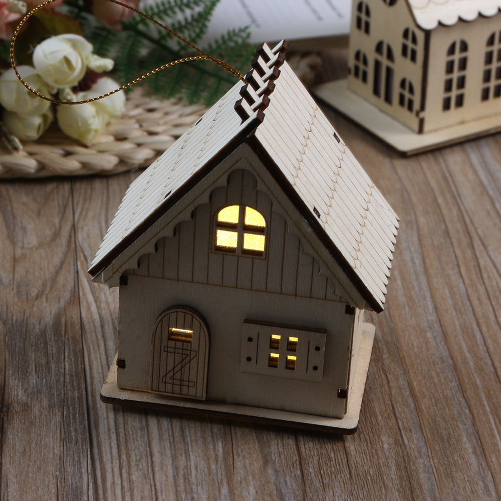Christmas Decoration LED Lighting Small Wooden House Xmas Tree Pendants Ornaments  Christmas Party Decorations Gift-in Pendant u0026 Drop Ornaments from Home ...