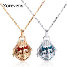 ZORCVENS New Fashion Gold/Silver Flower Hollow Magic Box Cage Angel Call Musical Necklace Pendant Choose Color Beads For Women(China)