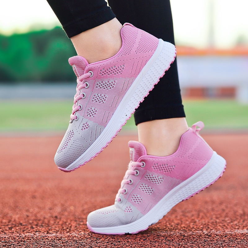 Factory Direct Women Casual Shoes Fashion Breathable Walking Mesh Flat Shoes Sneakers Women 2019 Gym Vulcanized Tenis Feminino 5