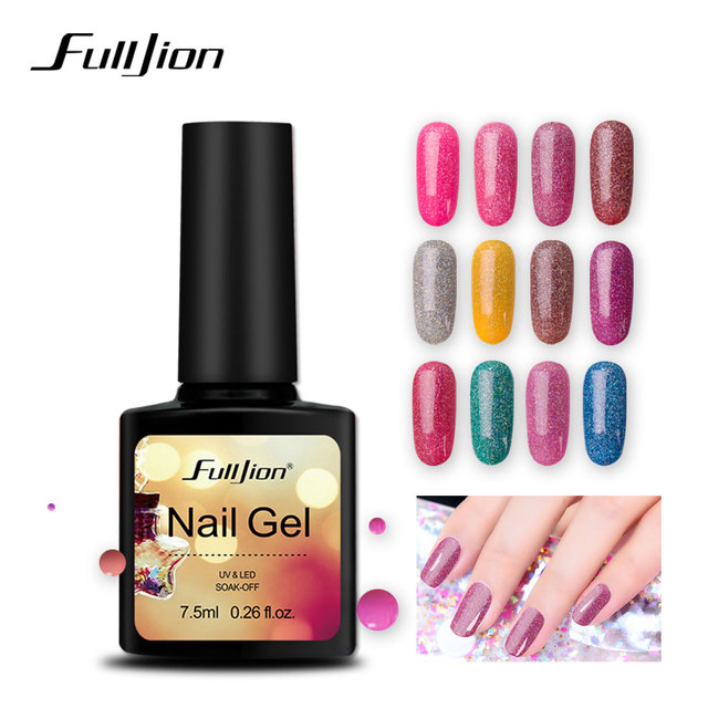 Fulljion Neon Gel Nail Polonês 7.5 ml UV LED Gel Shimmer Glitter Gel Laca Verniz Soak Off Primer Híbrido Prego ferramentas de arte Manicure