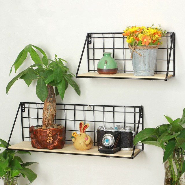 Nordic Bonsai Plants Flowers Display Stand Wall Hanging Storage Rack Iron  Grids Shelf Hanger Holder Black