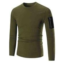 HOT 2017 Fashion Spring Autumn Base shirt Strech sleeves quilt Patch Zipper dress long sleeve T-shirt youth men's clothing