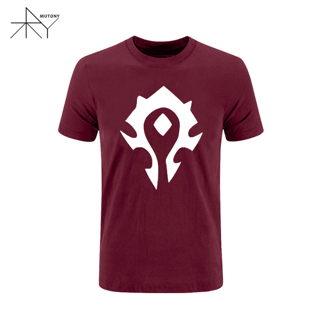 Printing Cool Game Wow T Shirt Fashion Short Sleeve Wow Horde Symbol
