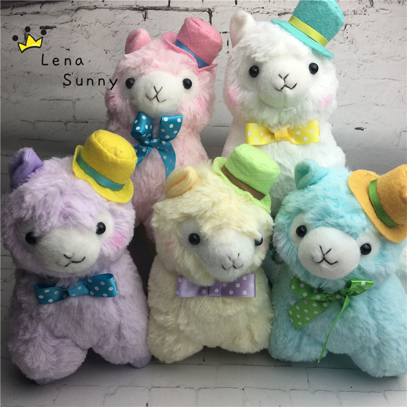 10pc Lot Mixed Color 17cm Japan Alpacasso Bowknot Plush Toy Kids Alpaca Christmas Gifts Toy