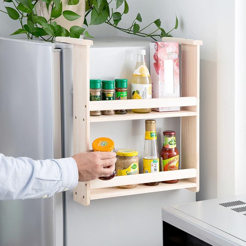 US $42.73 10% di SCONTO|Legno massello frigoriferi side appesi rack mensole  da cucina appeso a parete appendiabiti rack spezie rack HYSOO-in Supporti  ...