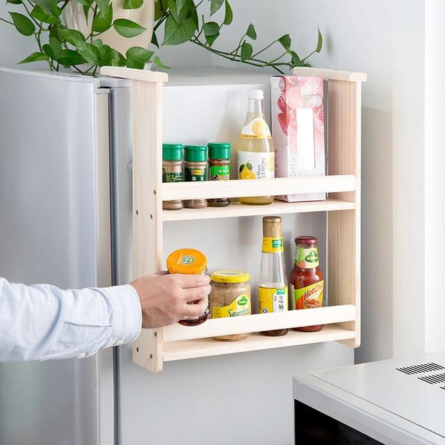 Legno massello frigoriferi side appesi rack mensole da cucina appeso ...