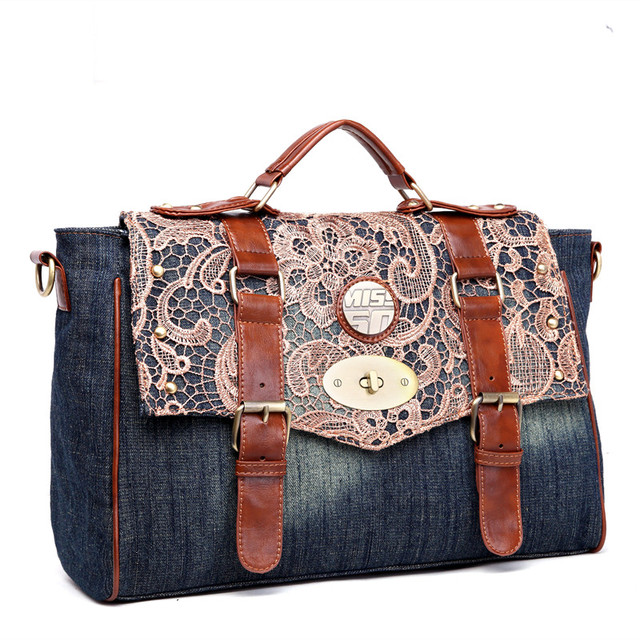 QIAODUO Lace Denim Cloth Bag For Women Large Jeans Shoulder Bag Holiday  Casual Canvas Tote Bag 2565bf9adc