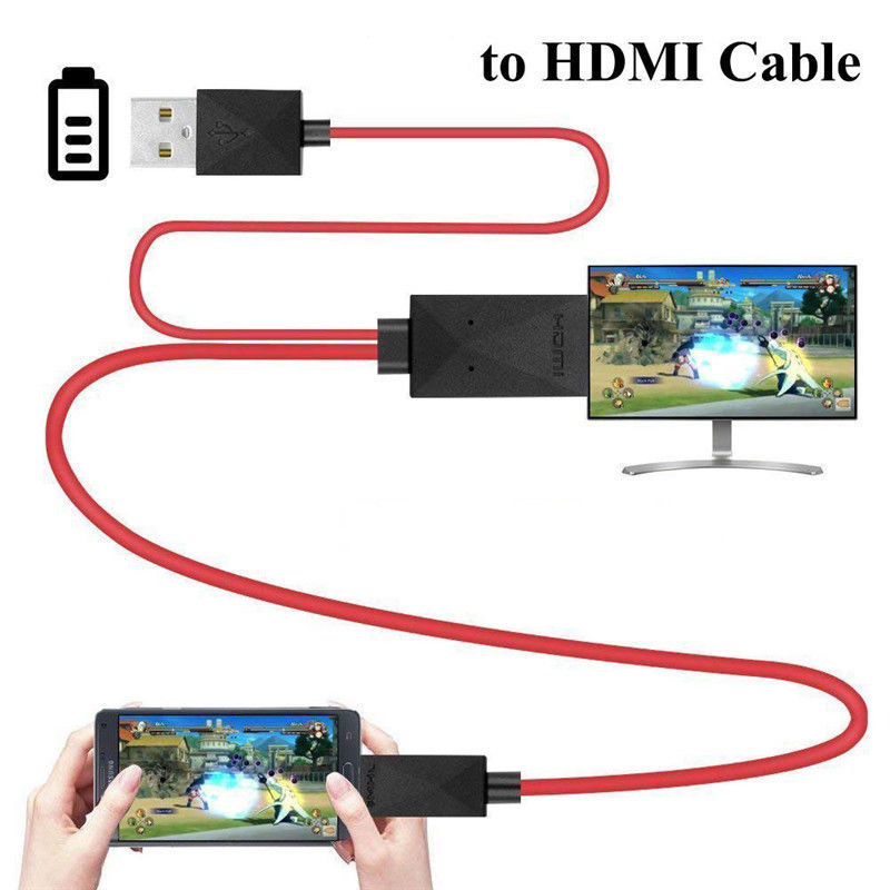 2M Für <font><b>Samsung</b></font> Galaxy S4 S3 Android Handys <font><b>Adapter</b></font> Kabel Rot Micro USB 2.0 Zu HDMI 1080P HD TV 11 pin <font><b>AV</b></font> Video Kabel <font><b>Adapter</b></font> image