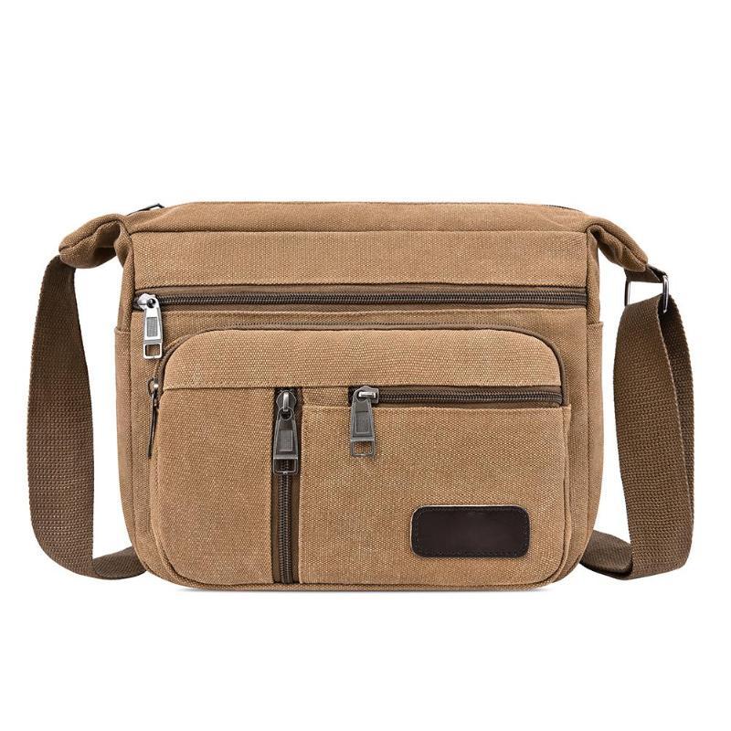 New Canvas Shoulder Bags For Men Solid Colors Messenger Bags Travel Handbags Vintage Style Crossbody Bags 2019 Multiple Pockets