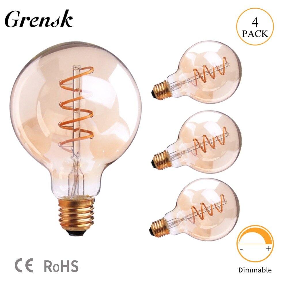 Grensk Filament Lampe Dimmable Spirale Edison G95 3 w Globe Ambre En Verre Led Ampoule 2200 k E26 110 v E27 220 v Or Décoratif Lumière Ampoule