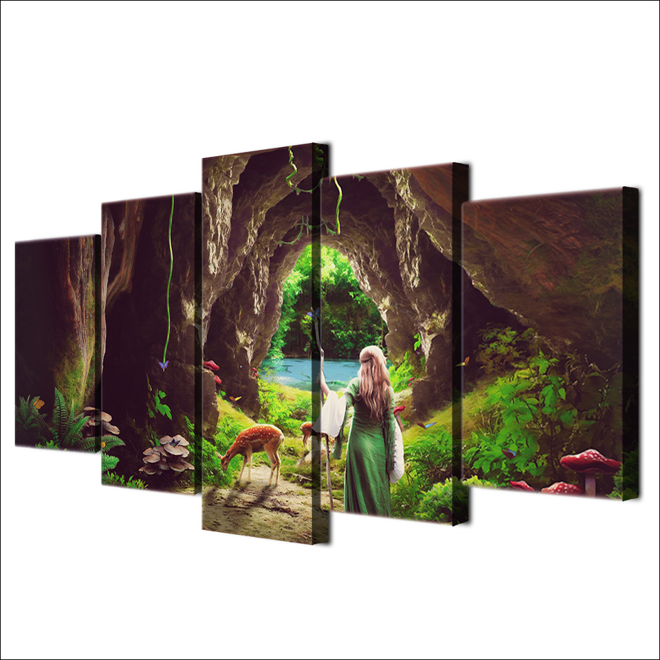 5 Piece Framed HD Printed Alice In Wonderland Movie Canvas Artwork ...