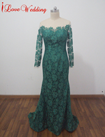 ILoveWedding Nieuwe Sexy Hunter Green Lace Avondjurken Lange Mouwen Mermaid Formele Party Gown Applicaties Prom Jurk Illusion Terug