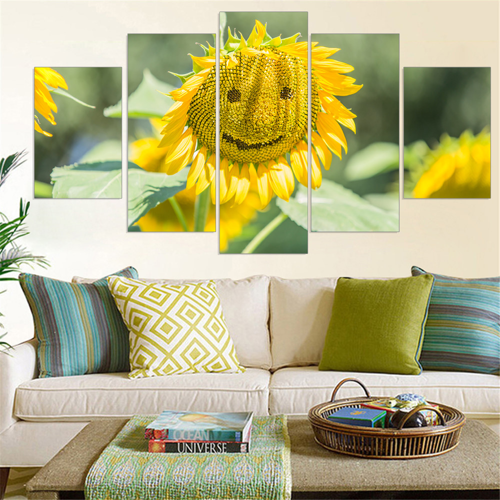 ᐊModern Canvas Painting Sunflower Modular Smiling Face Canvas Print ...