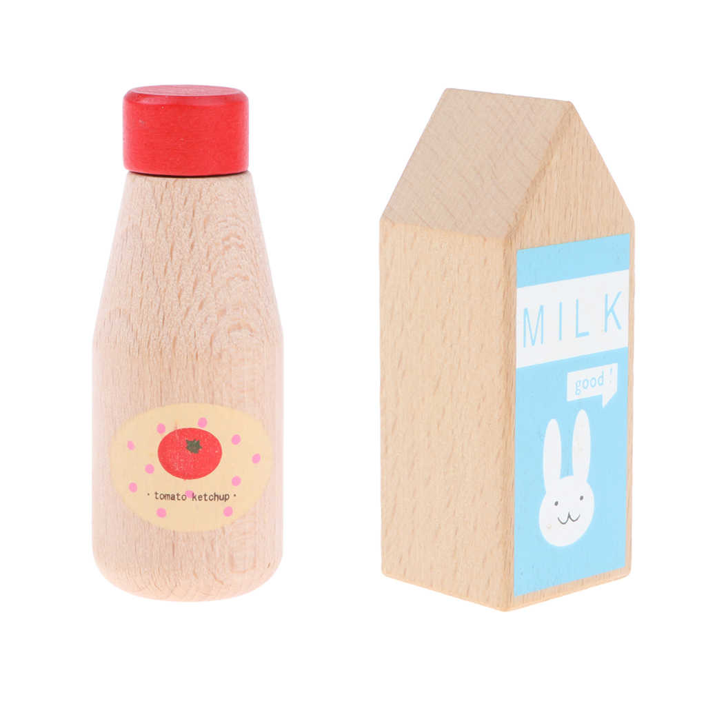 Упаковка из 2 деревянных бутылка для приправ шеф-повара ролевая посуда игрушка для детей-бутылка для кетчупа и бутылки молока