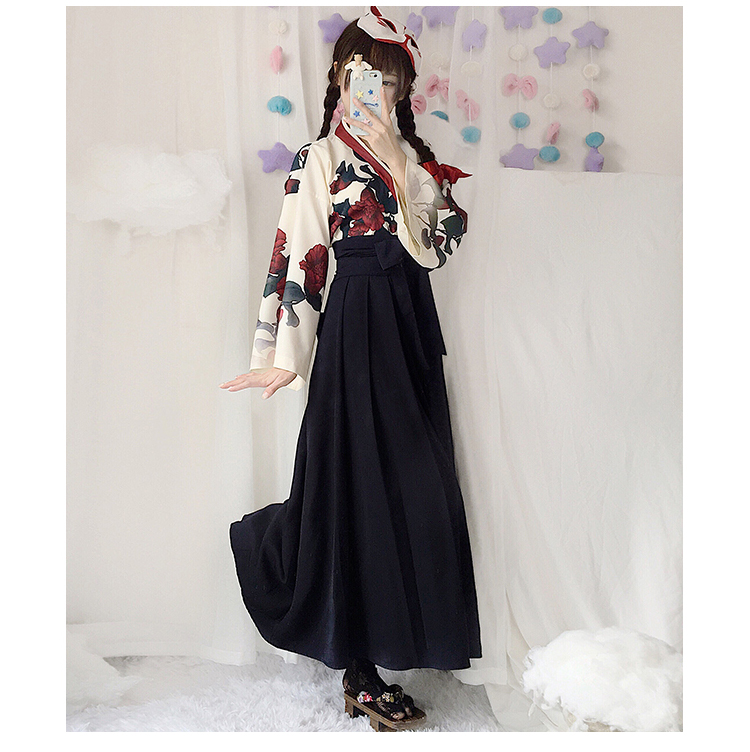 Girls Japanese Style Retro Kimono Floral Long Sleeve Woman Party Dress Summer Fashion Outfits Top Bow Skirt Haori for Female 7