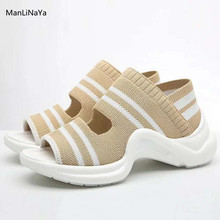 9ac674b42f Lã de tricô Mulheres Sapatilha Sandálias Peep Toe de Salto Grosso Mulheres  Sapatos Casuais Elástico Banda