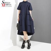 New 2018 Women Blue Black Elegant Shirt Dress A Line Layered Design Short Sleeve Female Cute Midi Runway Dress Robe Femme 3375