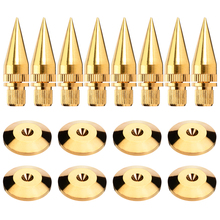 8Pairs/set M6*36 Copper Speaker Spike Isolation Stand +Base Pads Floor Discs Spike Isolation Spike Isolation Pads