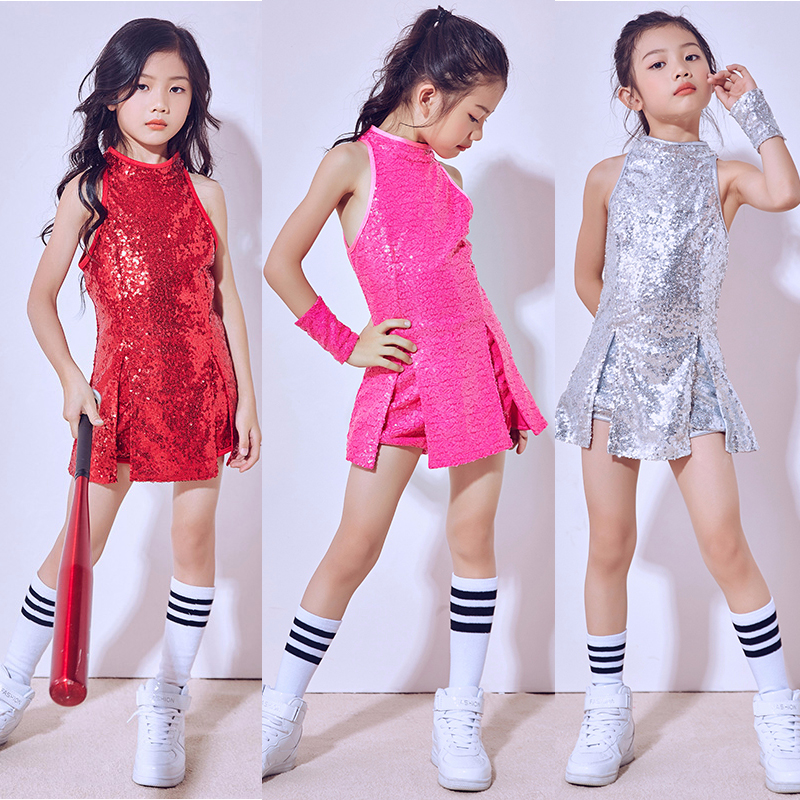 Girl Jazz Sequin Kids Jazz Dance Costumes Hip-hop Performance Clothes Fashion Practice Stage Costume Suit For Children BL1095