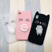 Cases For iphone 7 8 6 6S Plus 5 SE 3D Cute Japan Glitter Bearded Cat Squishy Cat case For iphone xr xs max  Silicone cover