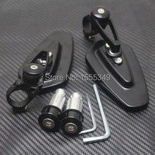 7/8″Handle Bar End Folding Mirrors For Yamaha Kawasaki Suzuki Honda Harley BMW Buell Aprilia Triumph Ducati KTM Black