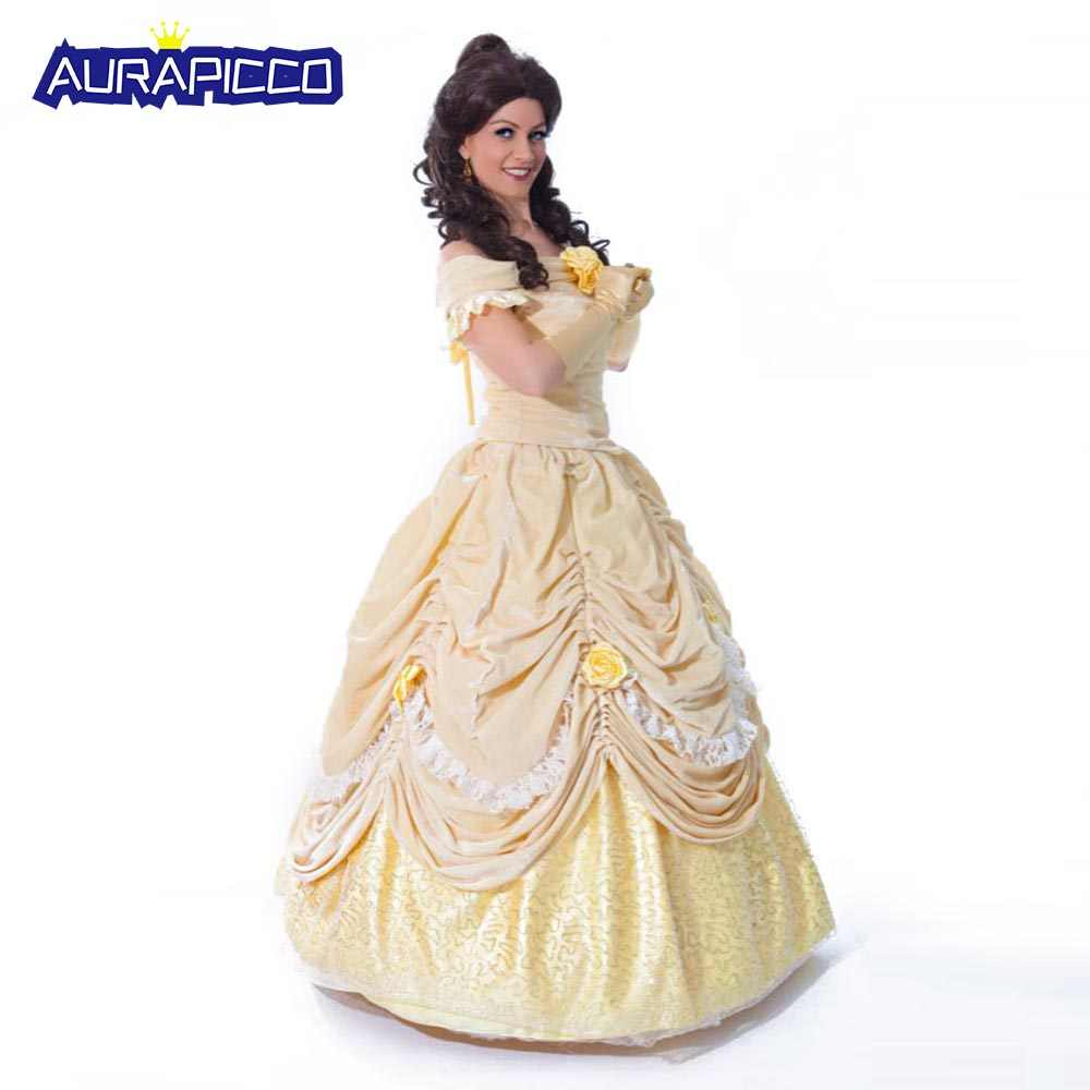 7ddbdce8c5 Detail Feedback Questions about Women Princess Belle Dress up Cosplay Beauty  and the Beast Costume Adult Velour Prom Layered Yellow Party Quinceanera  Gown ...