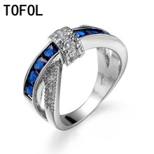 TOFOL Royal Blue Cross Ring Men Women Three Color Zircon Silver Plated Rings Male Female Engagement Wedding Jewelry Gifts
