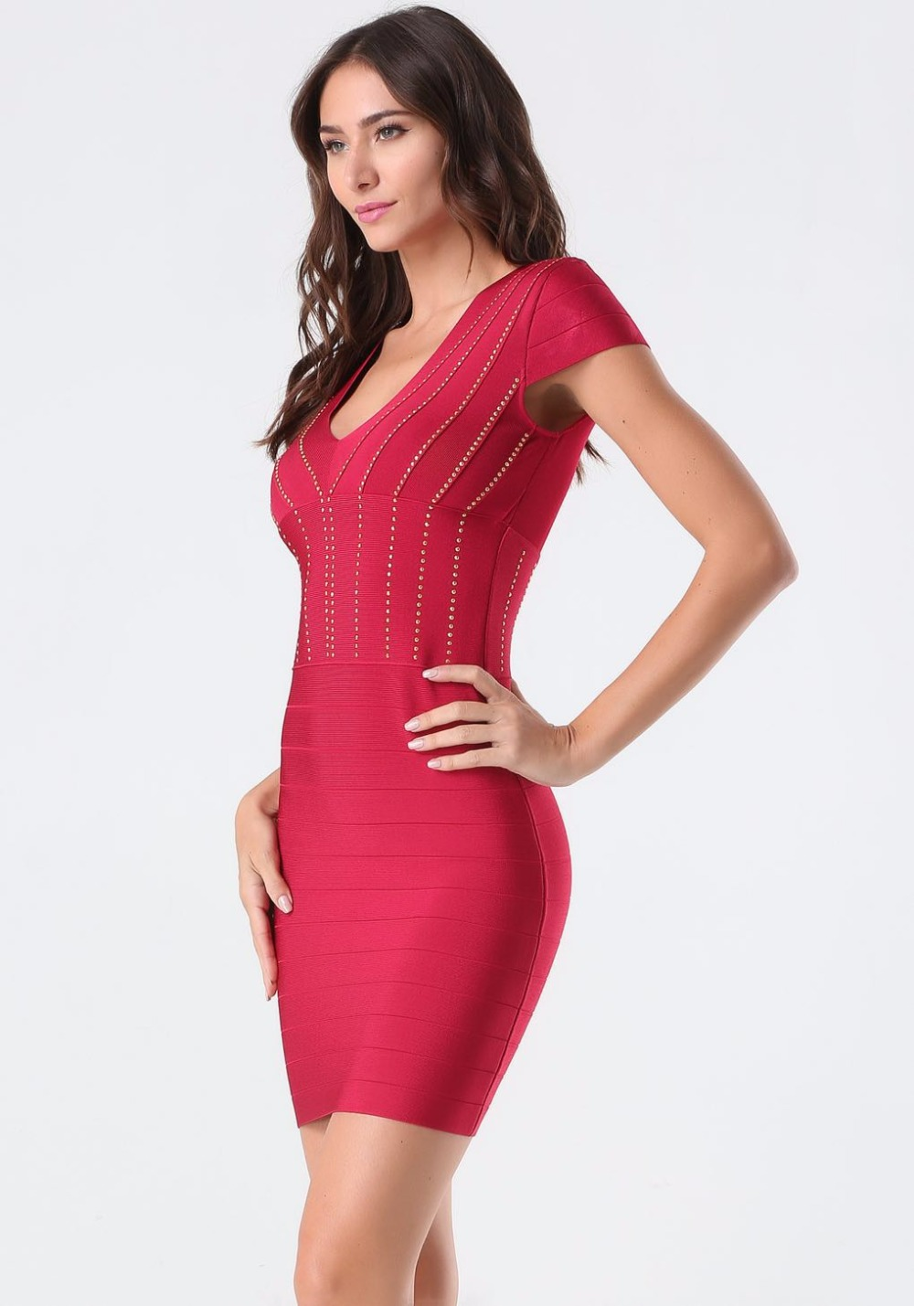 Wholesale Women Summer Dress 2018 Sexy V Neck Red Rayon ... Red Dresses For Women 2018