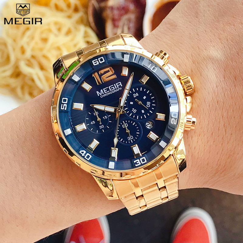 Chronograph Men's Quartz Watches <font><b>MEGIR</b></font> Stainless Steel Band Waterproof Calendar Male Clock Business Man Watch Montre Homme image