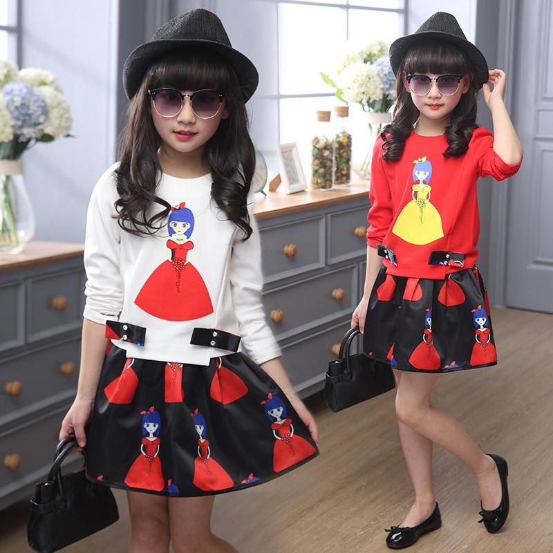 Fall 2016 Children Dresses Girls Clothing Cartoon Long Sleeve Fake Two Dress Apparel 3 4 6 8 10 12 Years
