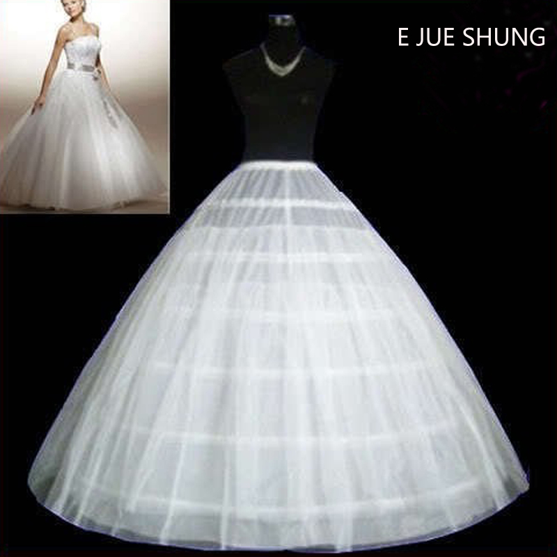 E JUE SHUNG 6 Hoops Two Layers Tulle Wedding Petticoat Ball Gown Crinoline Slip Underskirt For Wedding Dress Wedding Accessories