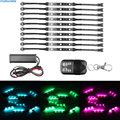 10Pcs 5050 SMD RGB LED Motorcycle Car Chopper Frame Glow Lights Flexible Neon Strips Light Kit With Remote Controller