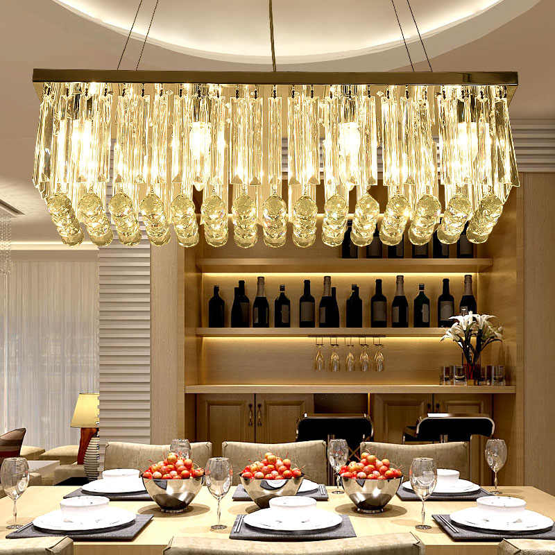 Rectangular Crystal Restaurant Chandelier Creative Bar Counter Living Room European Dining Hanging Lamp Titanium Gold Atmosphere