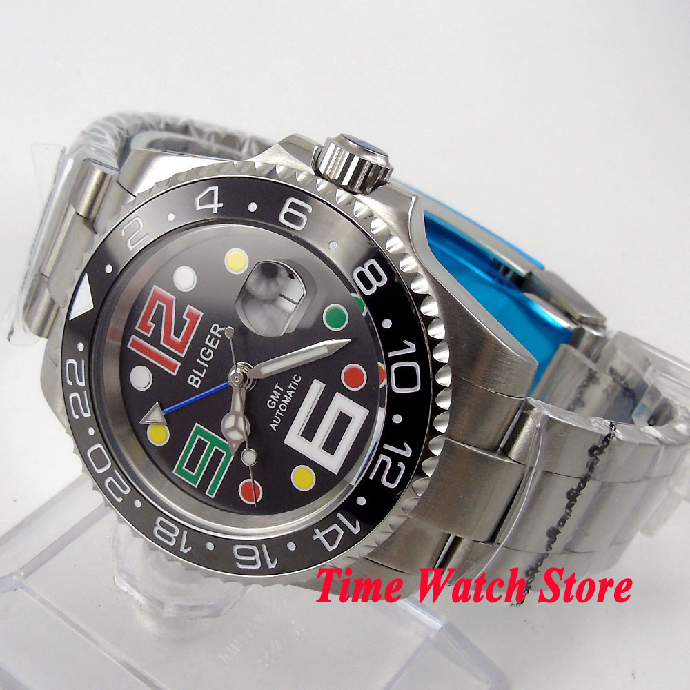Bliger 40mm black dial date colorful marks saphire glass black Ceramic Bezel GMT Automatic movement Men's watch цена и фото